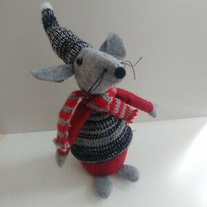 MOUSE weighted fabric CHRISTMAS DECORATION shelf ornament 24cm red, grey & black