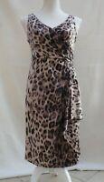 Ronni Nicole animal print part lined waterfall trim sleeveless dress Size 10