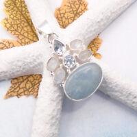 Aquamarin Mondstein Blautopas blau weiß Design Anhänger 925 Sterling Silber neu