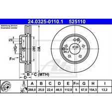 ATE 2x Bremsscheiben belüftet beschichtet 24.0325-0110.1