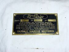 Dubrie Vintage Antique Marine Engine Boat Motor Brass Makers Tag Badge Detroit