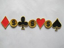 "#2933 7-1/2"" Poker Card Gambling Casino Embroidery Iron On Applique Patch"