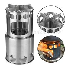 Outdoor Portable Hiking Wood BBQ Stove Cooking Picnic w/ Pouch Camping Burner