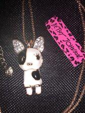 Betsey Johnson Necklace French Bull Dog Black White Dog Crystal Enamel