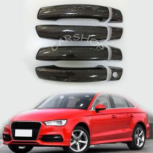 For Audi A3 S3 TT 2014-2020 Dry Real Carbon Fiber Door Side Handle Cover Trim