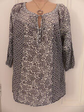 M&S Collection grey and black cotton and silk blend size 8 ¾ sleeve top