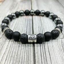 "8""L Zodiac Sign 8mm Onyx+Lava+Hematite Gemstone Beaded Silver Unisex Bracelet"