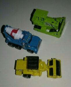 Micro Machines Construction Bulldozer Mixer Lot of 3