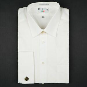 White French Round Cuffs Straight Point Men's Dress Shirt by BOSA