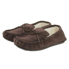 Mens Brown Moccasin Slippers with Rubber Sole Wool Lining & Lace Tie Lambland