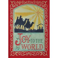 "JOY TO THE WORLD 12.5"" X 18"" GARDEN FLAG 11-2691-50 RAIN OR SHINE FALL SEASON"