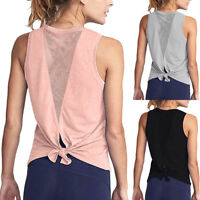 Womens Cute Yoga Workout Mesh Shirts Activewear Sexy Open Back Sports Tank Tops