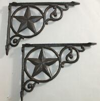 2 Shelf Garden Brackets Supports Cast Iron Brace Antique Style Star 7 x 9 1/2