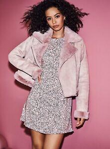 Miss Selfridge Womens Pink Short Aviator Jacket Short Zipped Coat Outwear Top