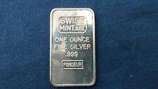 Very Rare Vintage Silver Bar 1 Troy Oz .999 Swiss Mint S.R.L Fondeu
