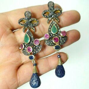 """3"""" Long Dangle Post Earrings Semi Precious Pink Green Stones Crystals Lapis Drop"""