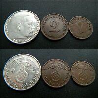 Original Set of German coins: 2 Reichsmark, 1, 2 pfennig with Swastika #65