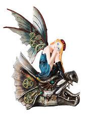 Steampunk Fairy Mechanical Dragon Head Statue Flight Figurine Gears