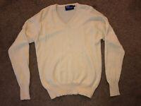 Men Polo Ralph Lauren Blue Label 100% Cashmere V neck Yellow Sweater
