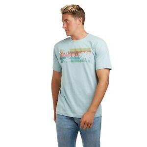 Ocean Pacific Mens - Palm Tree Stripes - Surf - T-shirt - Teal