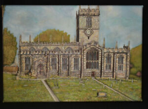 Ecclesfield Church - Canvas Print of Landscape Painting 30x20cm signed