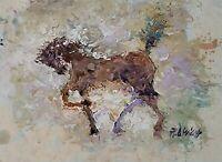 ANDRE DLUHOS ORIGINAL ART OIL PAINTING Horse Equine Equestrian Warmblood Canter