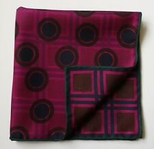 Double sided pocket square handkerchief. Magenta & brown geometric. Hand rolled