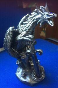 Drache aus Resin im Zinnfinish, Fantasy, Gothic, Mystik, Dragon, Drachen,