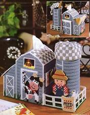 FARMYARD DESK ORGANIZER BARN TISSUE COVER PLASTIC CANVAS PATTERN INSTRUCTIONS