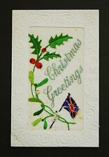 WW1 Silk Postcard Christmas Union Jack Holly Maples Street Nottingham NG7
