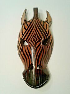 Vintage Wood Zebra Mask Wall Decaration Made in Kenya