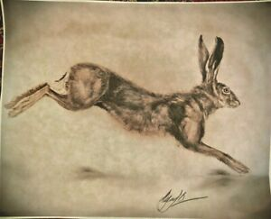 Leaping Hare Vintage English Folk Art Drawing Original Print Signed by Artist