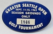 1963 Greater Seattle Open Golf Tournament oval pinback button golfing