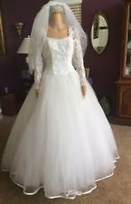 Vintage Eve Of Milady Princess Long Sleeve Wedding Dress 100% AUTHENTIC- Size 10