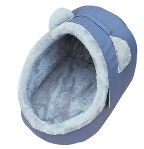 HERITAGE GREY IGLOO BED PET CAT KITTEN SOFT PLUSH WARM CAVE CREAM HOUSE SNUG
