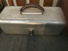 Rare Vintage Kennedy-Kit 3 Tray Aluminum Tackle Box w/ Leather Handle