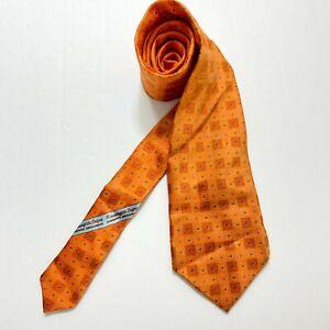 Ermenegildo Zegna Tie Geometrics Orange Tie Silk Made In Italy Rare