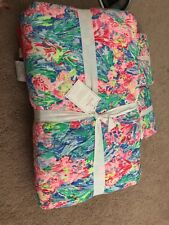 Nwt Lilly Pulitzer Pottery Barn Fan Sea Pants Reversible Quilt King and 2 Shams