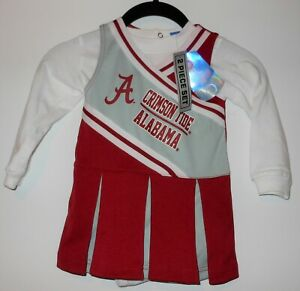 NWT Licensed Alabama Crimson Tide 2 Pc Infant Girl Cheerleader Outfit Size 3/6M