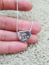 """Tiffany & Co. Concave Solid Heart Necklace Pendant 18"""" w/ Chain. Heavy Heart!"""