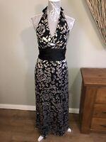 Phase Eight Ladies Size 12 Bronze Metalic Black Long Maxi Halter Dress Evening