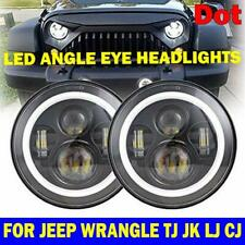 Pair 7 Inch Round LED Headlight Hi-Lo Beam Clear Lens For Ford Hummer Chevrolet