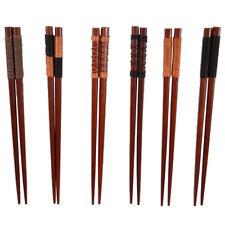 6 Pairs Handmade Japanese Natural Chestnut Wood Wooden Chopsticks Set Gift