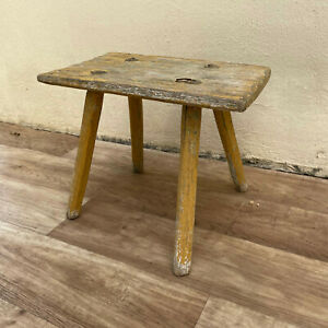 RARE Antique French Wooden Rectangle Milking Stool Riser Plant Stand 1708212