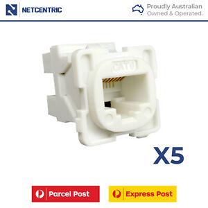 5x Cat6 Ethernet Port Keystone Jack Insert for Clipsal & Similar Plates BULK