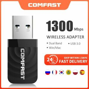 Dual Band 2.4/5.Ghz 1300Mbps Wireless WiFi Dongles USB Adapter 802.11AC CF-812AC