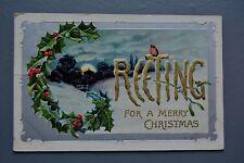 R&L Postcard: Christmas Greetings, Davidson Bros 1909 Embossed Snow Moonlight