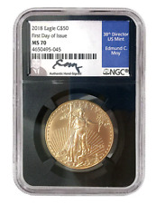 2018 $50 Gold Eagle MS70 - First Day Issue FDI - Edmund Moy Signed - 1 of 124