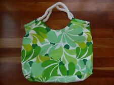 Clinique Tote Bag Green Flowers Floral Make Up Travel Cosmetic Rope Handles