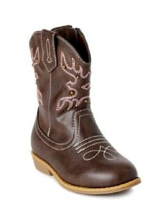 Wonder Nation Toddler Girls Classic Western Brown Cowboy Casual Boots Shoes 7-11